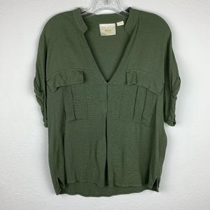Anthropologie | Army Green Oversized Popover Top